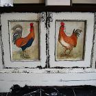 Detail of poultry on painted and antiqued dresser